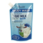 Plastic stand up nylon pouch packing body wash goat milk gel liquid packaging spout bag with cap