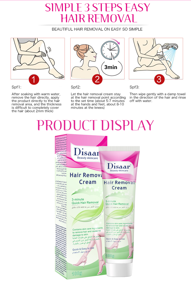 Disaar 3-minute quick legs armpit private parts body best hair removal cream for Men Women