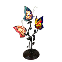 Three Butterfly desk lamp Stained Glass Night Lighting For Bedroom