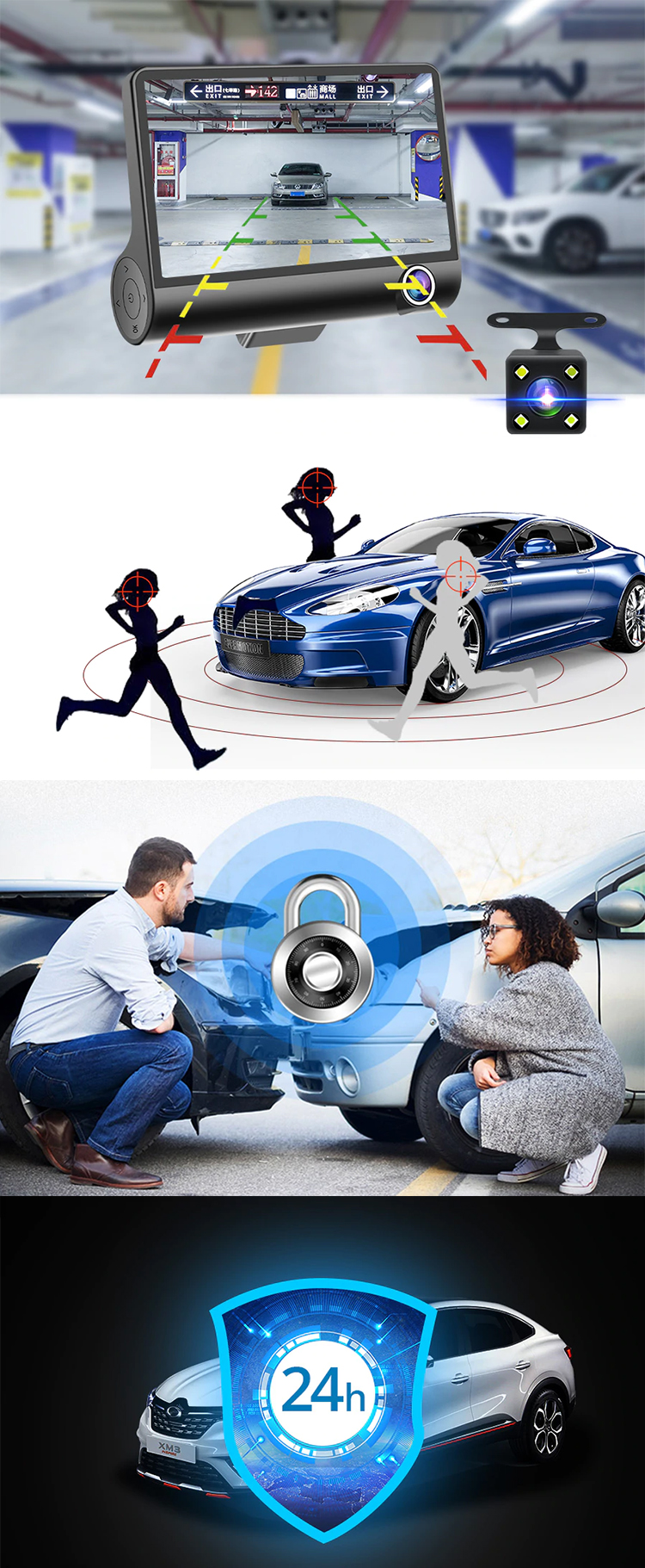 There lens Dashcam Full HD 1080P Video Registrator Car DVR Camera Recorder with G-Sensor car camera