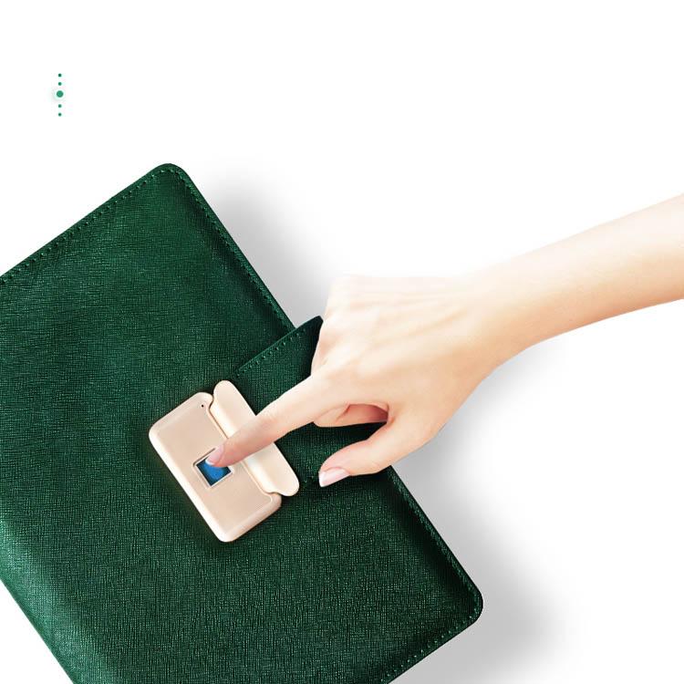 WEIYI 2019 new product pu leather fingerprint lock notebook built in power bank