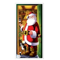 "Premium Handsome Santa Claus Design Printed Door Cover 30X72"" Christmas Decoration Plastic Door Cover"