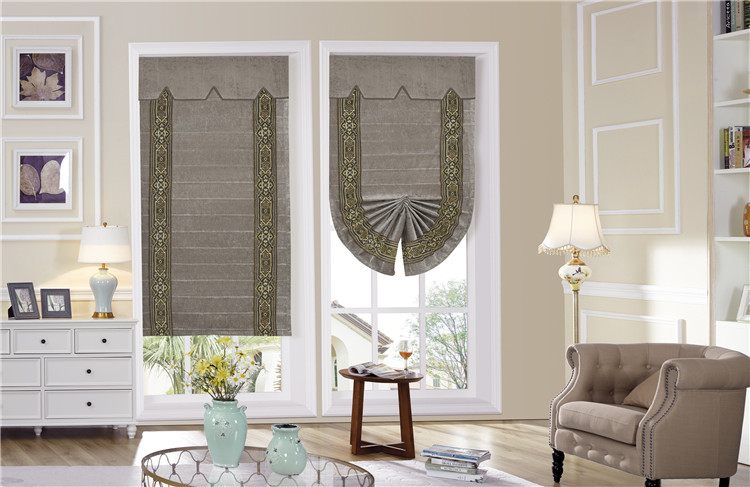 Home window chenille roller blind embroidered blackout roman curtain