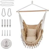 Outdoor Indoor Hammock Chair With Macrame Lace Pillow And Pocket