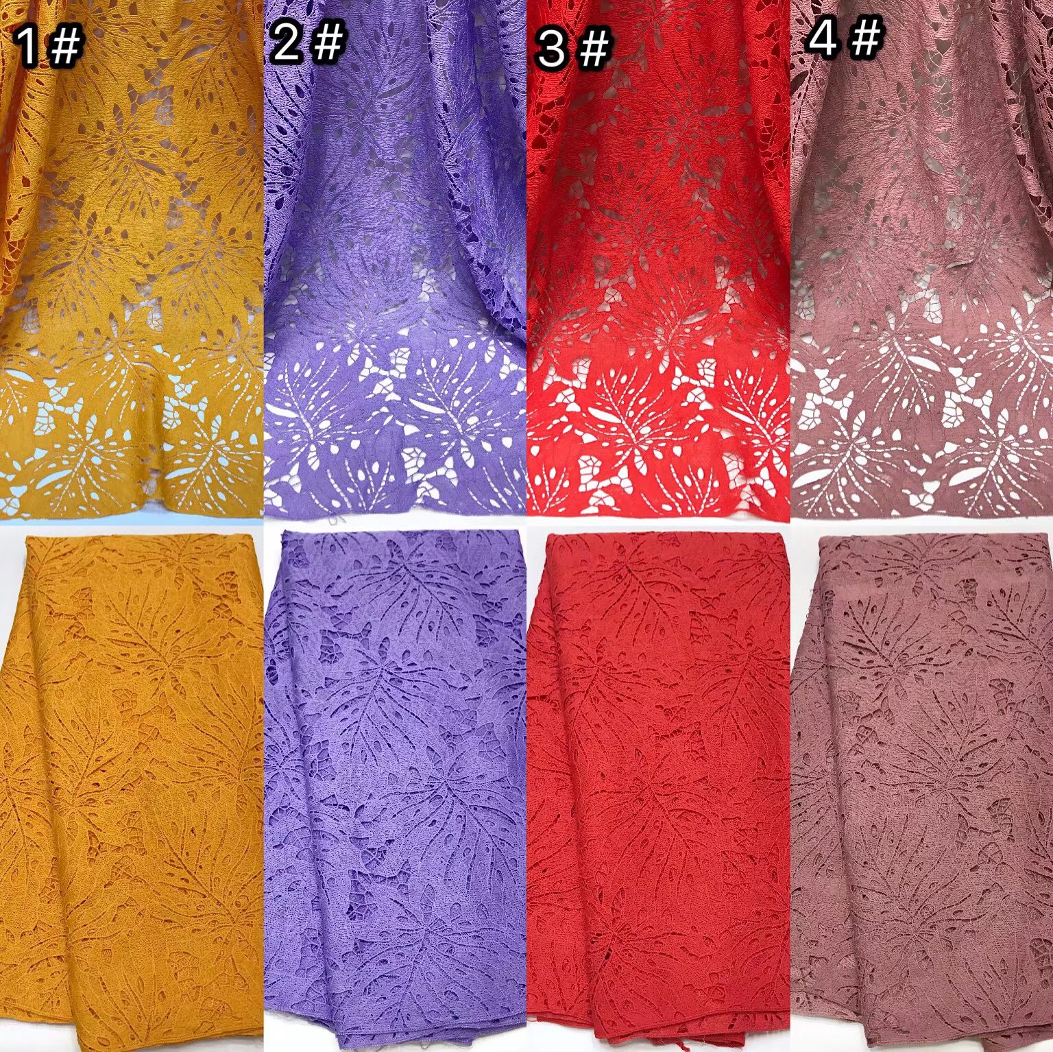 Lace embroidered with rhinestones dense material guipure lace fabric for making ladies dresses