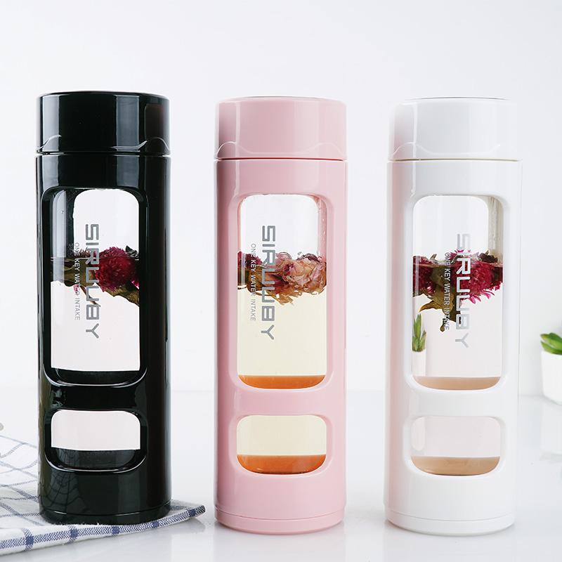 Botella de agua deportiva con filtro de té, cristal y cristal