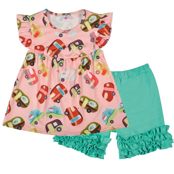 Flying Sleeve Girl Suit Summer Printed Car Children's Top Shorts and Children's Wear baby girl outfits