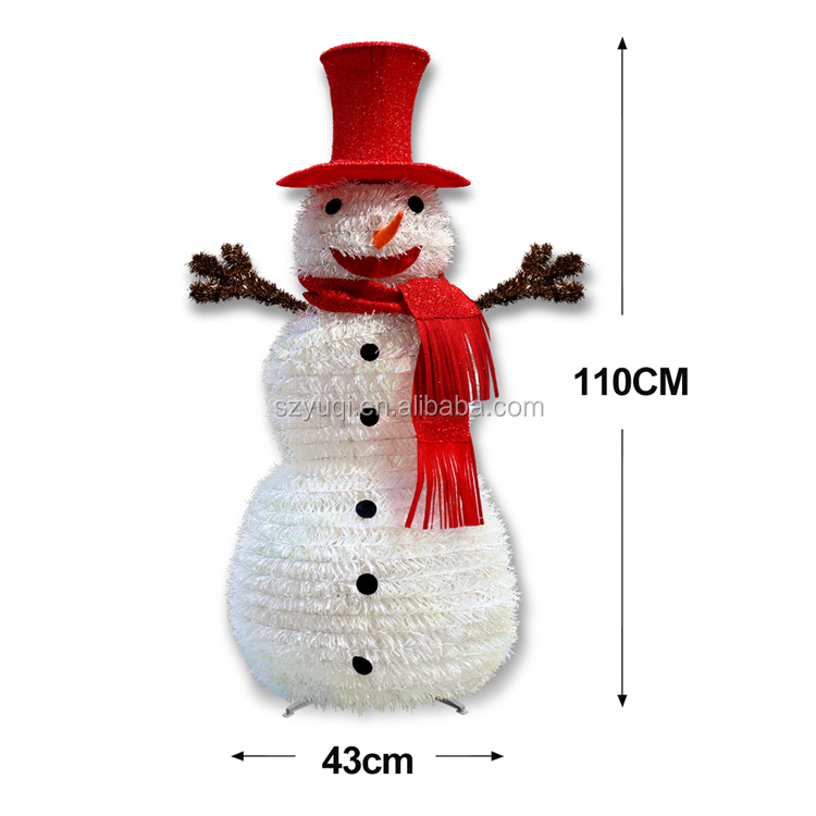 New product ideas 2019 christmas decoration collapsible tinsel silver christmas snowman