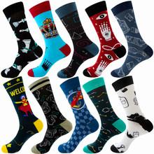 Разноцветные хлопковые носки, мужские рождественские полосатые носки в горошек с принтом животных и фруктов, повседневные модные зимние но...(Китай)