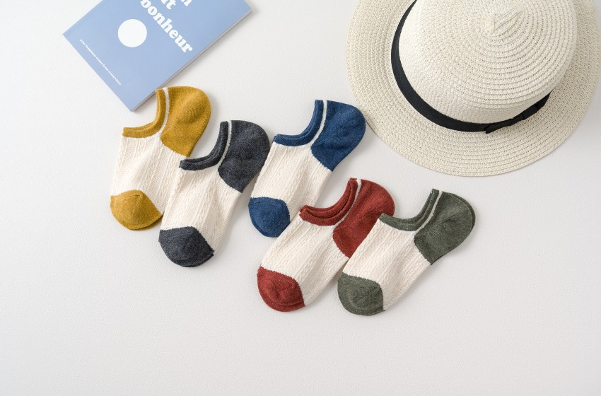 Socks Children Summer Cotton Thin Mesh Women Invisible Boat Socks Shallow Slip-proof Women's Socks 5 Pairs of Mixed Colors