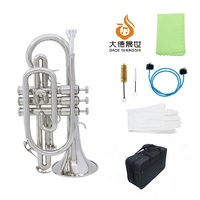Silver Cornet Professional Bb Flat Cornet Brass Instrument with Carrying Case Gloves Cleaning Cloth Brushes
