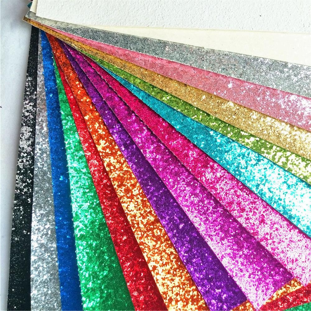 Sparkly Shiny Synthetic Vinyl PU Glitter Fabric Sheets Chunky Faux <strong>Leather</strong> For Shoes Bags Bow Crafts