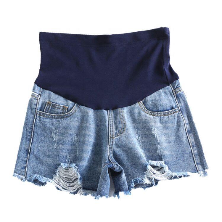 妊娠中の女性のデニムショーツ夏のファッション摩耗穴妊婦パンツ