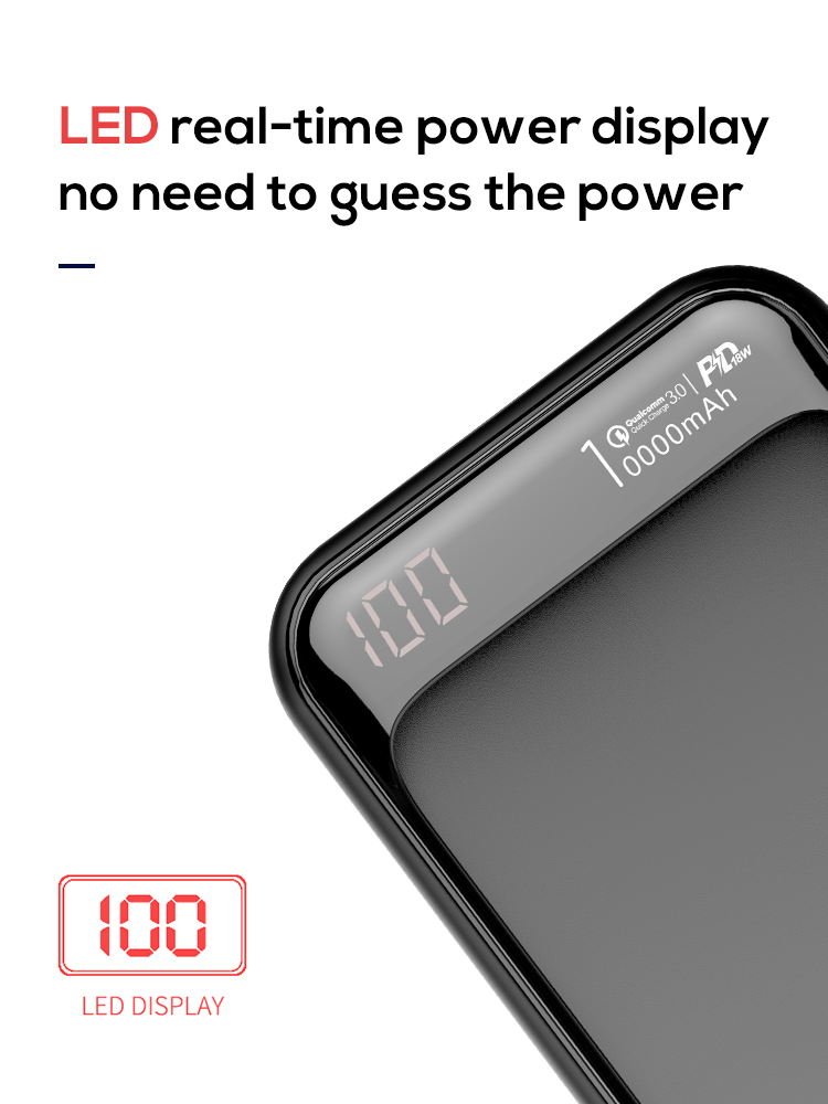 Jellico 2019 Heißer Produkt Led-anzeige QC3.0 USB PD Tragbare Ladegeräte Tragbare Power 10000mAh Power Bank
