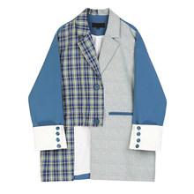 Женский клетчатый Блейзер EAM, Синий Свободный пиджак с отложным воротником и длинным рукавом, большие размеры, весна-осень 2020, 1S347(Китай)