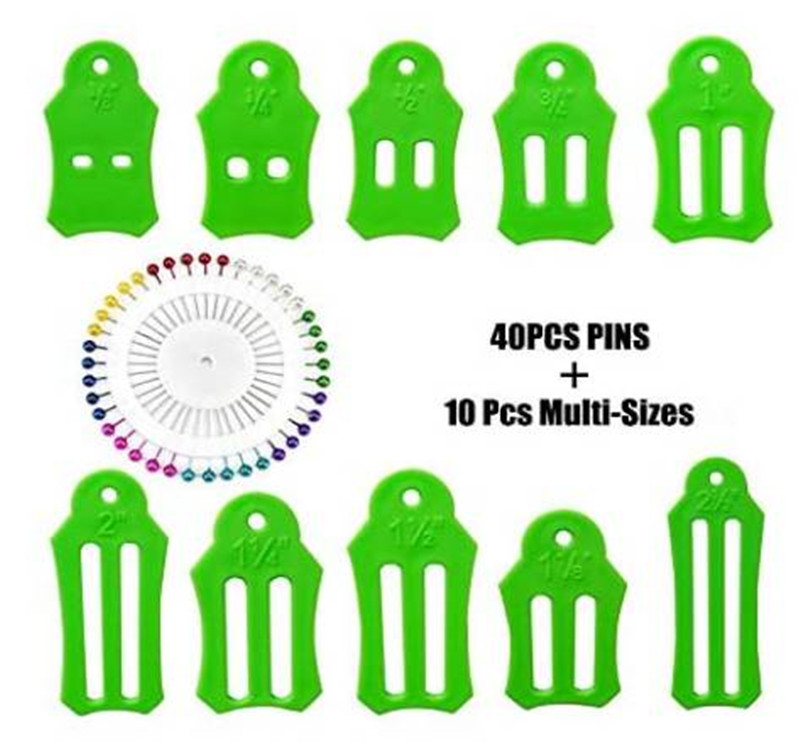 Bias Tape Makers 10PCS Multi-Sizes Folding Fabric and Biasing Strips Roll Tool Set with 40 pcs of Multi-Color Quilting Pins