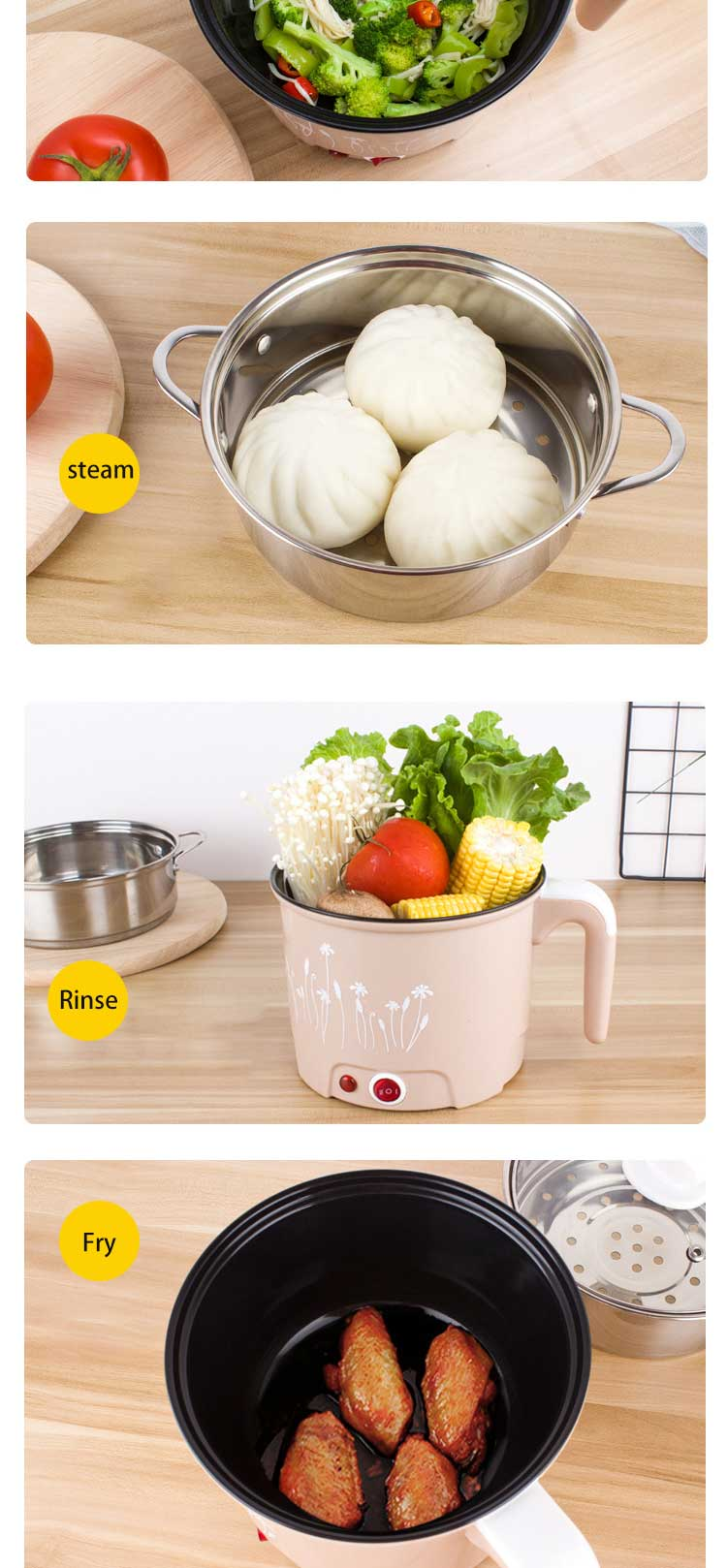 Mini stainless steel electric cooker, electric cooker, 1.8L, kitchen appliance with steamer