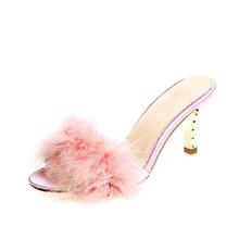2020 летние женские меховые тапочки; Женская обувь на тонком высоком каблуке; Модные женские шлепанцы с перьями и мюли с открытым носком(Китай)