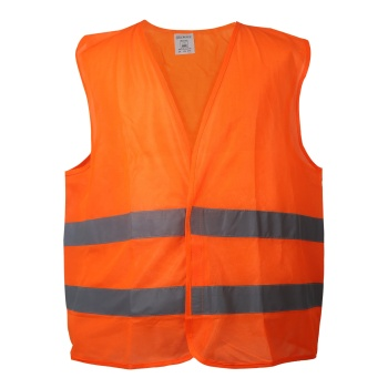 Breathable Polyester High Visibility Reflective Orange Safety Vest with Hook and Loop Closure