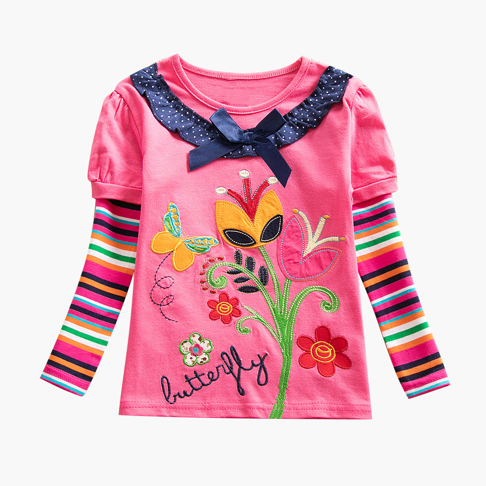 Children Clothes Spring Long Sleeve T Shirt Girls Flower Embroidery Cotton Tops Kids Child T Shirts for 2-8Y