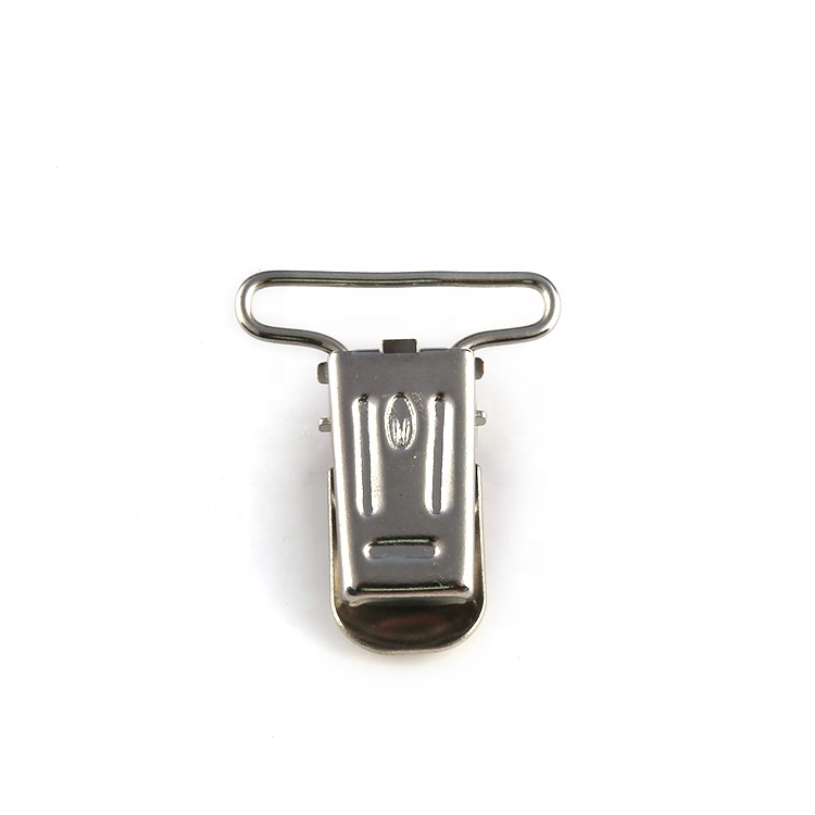 Top Quality Cloth Ornaments Plated Nickel Popular Style Pacifier Clip Customized Suspender Clips for Pants