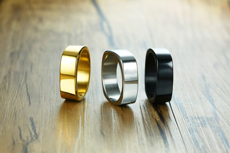Face Width 7MM Stainless Steel Simple Plain Flat Fashion Men's Rings Engraved Logo Square Ring