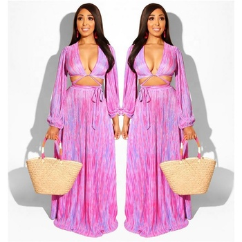 newest pink tie dye sexy lady two piece maxi dress suit long sleeve skirt set
