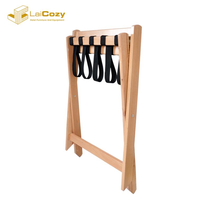 Custom Hotel bedroom solid wood foldable suitcase Luggage Rack stand