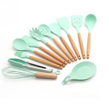 Kitchen accessories vintage beech wood handle utensil set/silicone cookware sets wide spatula for cooking