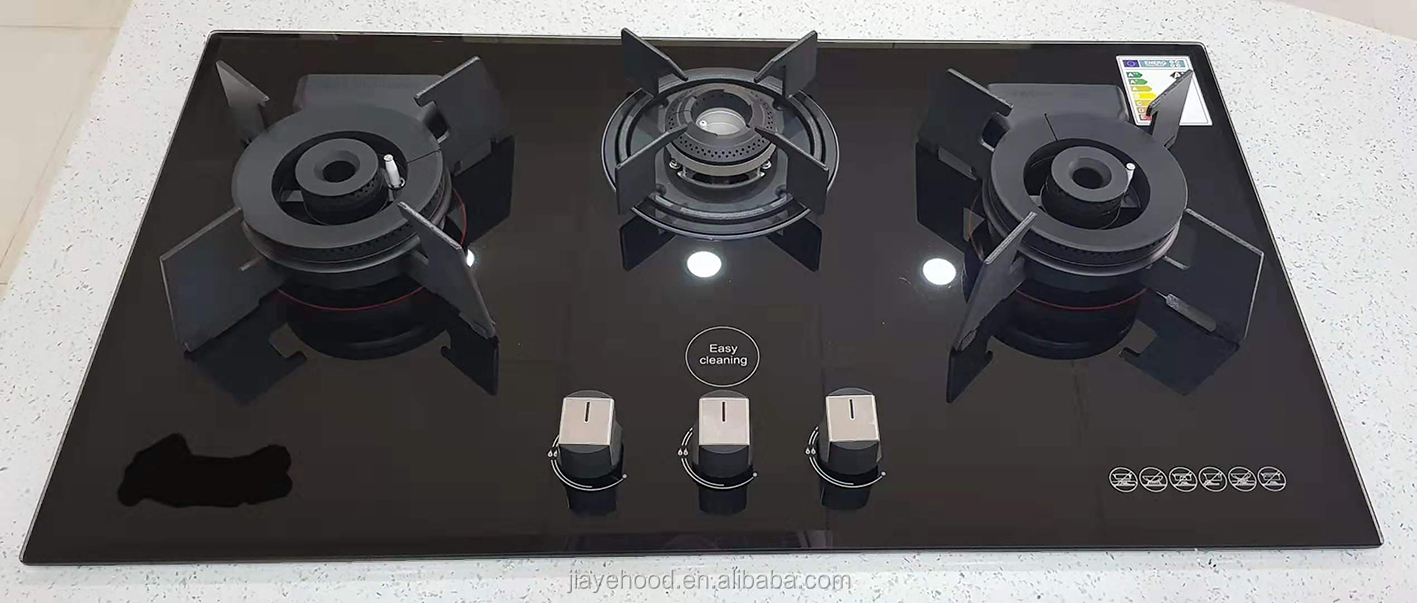 Easy cleaning built in 3 burners 10mm glass  gas cooker hob with safety device  JY-G3333