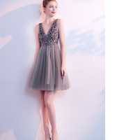 New design V neck backless chiffon real pictures of casual dresses grey midi sequin sparkle mature cocktail dress