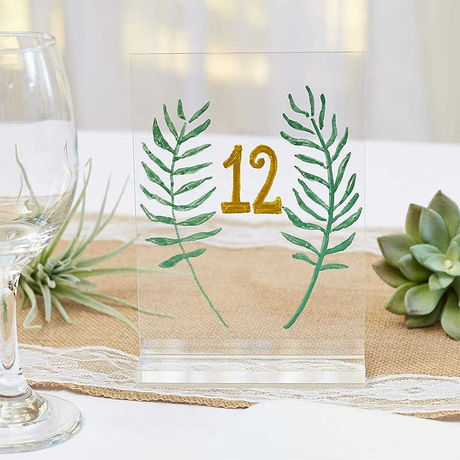5x7inch Clear Acrylic Table Number Holder with Stand Wedding Table Signs