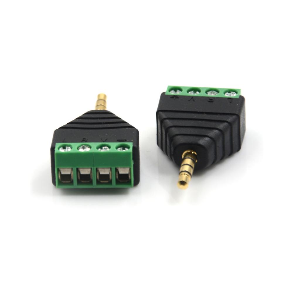 Video AV 3.5mm 4 Pin Male to AV Screw Terminal Stereo Jack Block Plug Connec GK