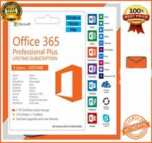 Microsoft Office 365 Pro Plus Dispositivo di 5 Pc/Mac/Telefono Onedrive 5 Tb Durata Conto Multilingue