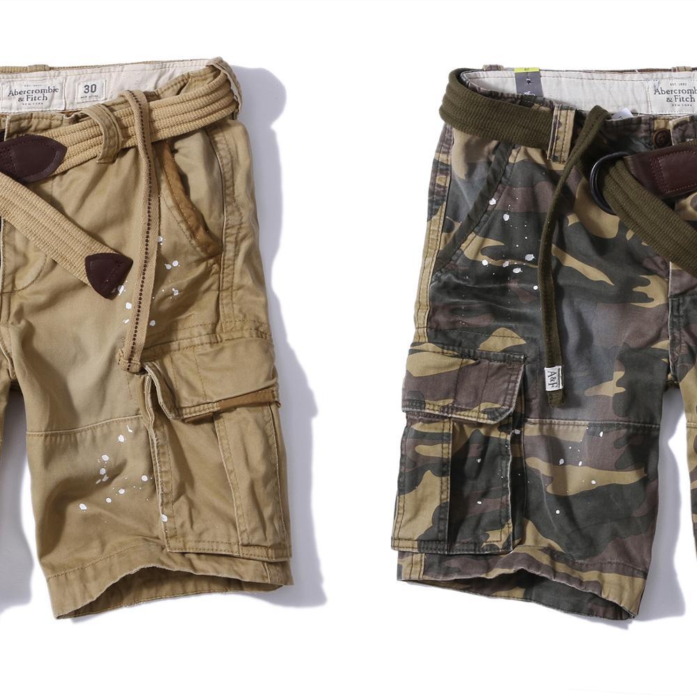 Mens Vintage Cargo-Shorts Entspannt Casual 100% Baumwolle Bermudas Gerade KEINE Gürtel großhandel kunden herren shorts hosen