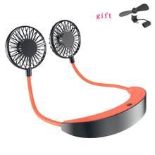 Мини-кулер для воздуха, перезаряжаемый двойной вентилятор с usb-зарядкой и ремешком на шею, портативный, лето 2020(Китай)