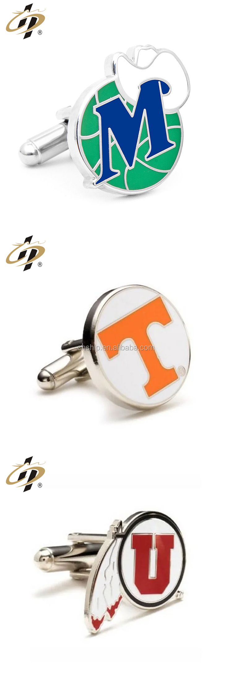 Custom engraved logo unique design your own metal cufflinks with enamel