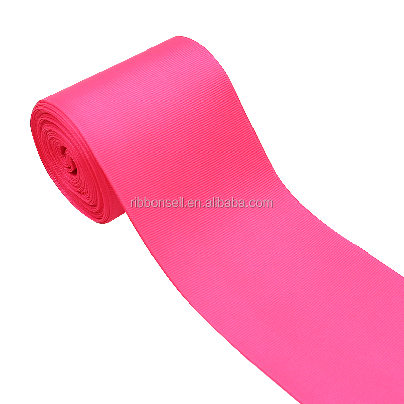 Wholesale 75mm 3 inch White, Pink Color  Solid Grosgrain Ribbon Polyester For Bows