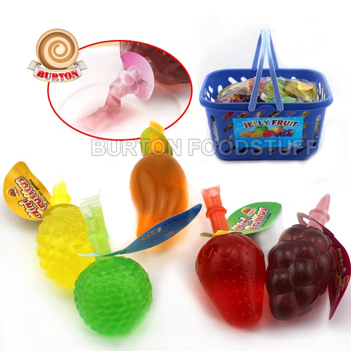 Fruity shaped gelatina jelly candy in plastic basket