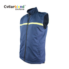 New style custom made durable blue workwear casual outer wear jacket reflective cotton men uniform vest