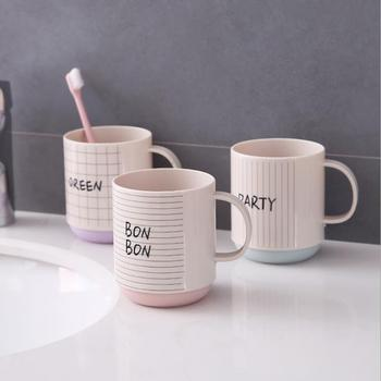 Letter style striped tea cup household with handle mouth wash cup non-slip couple square toothbrush cup