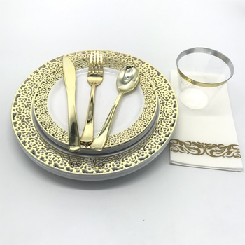 350 Piece Disposable Gold Lace Plastic Dinnerware