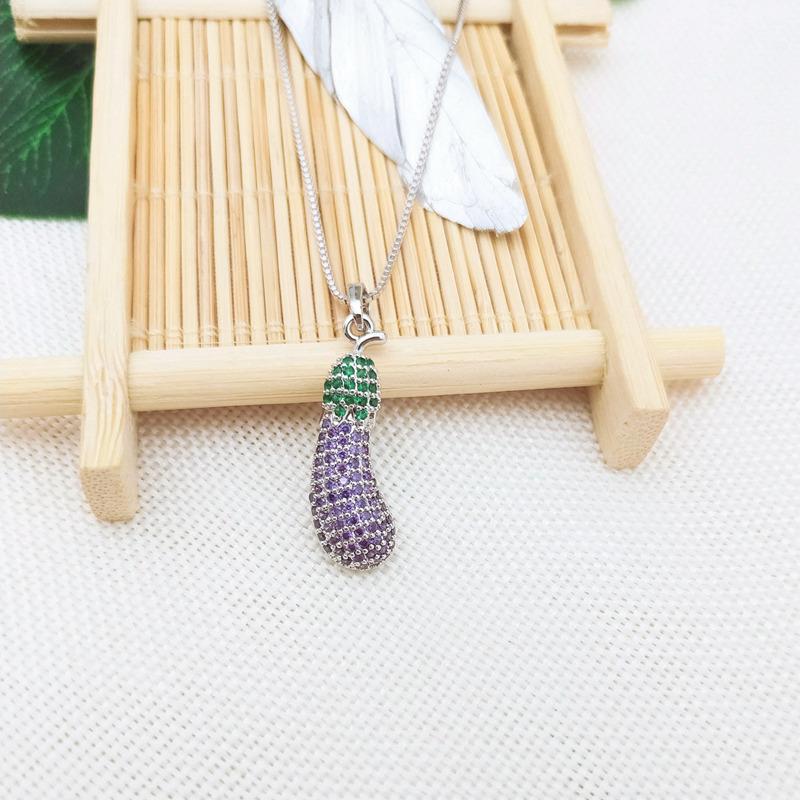 Style 123020 Diamontrigue Jewelry: Eggplant Shape New Style Woman Fashion Jewelry Pendant