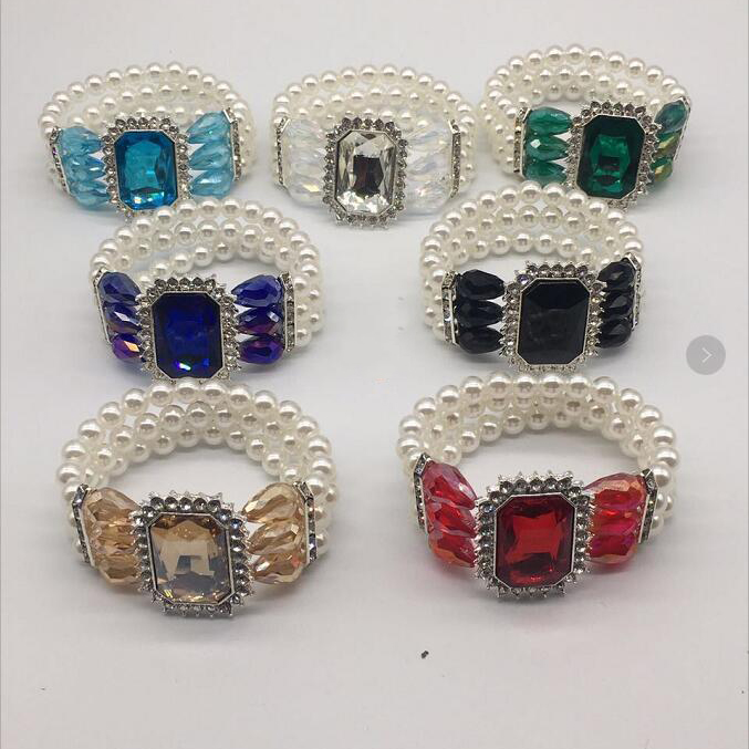 Factory direct inlay rhinestone geometric glass stone colorful bracelets elastic multi-layers pearl bracelet custom jewelry