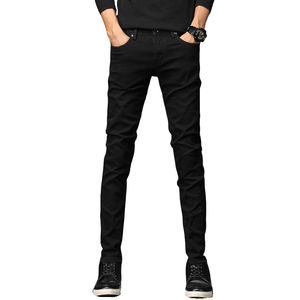 In stock High Quality Wholesale Black Casual Men Denim Tight Jeans Straight Cut for Men