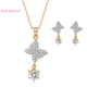 Wholesale Luxury copper Zirconia Necklace earrings Women Bridal Wedding jewelry Set for women gift high quality 18K gold plated