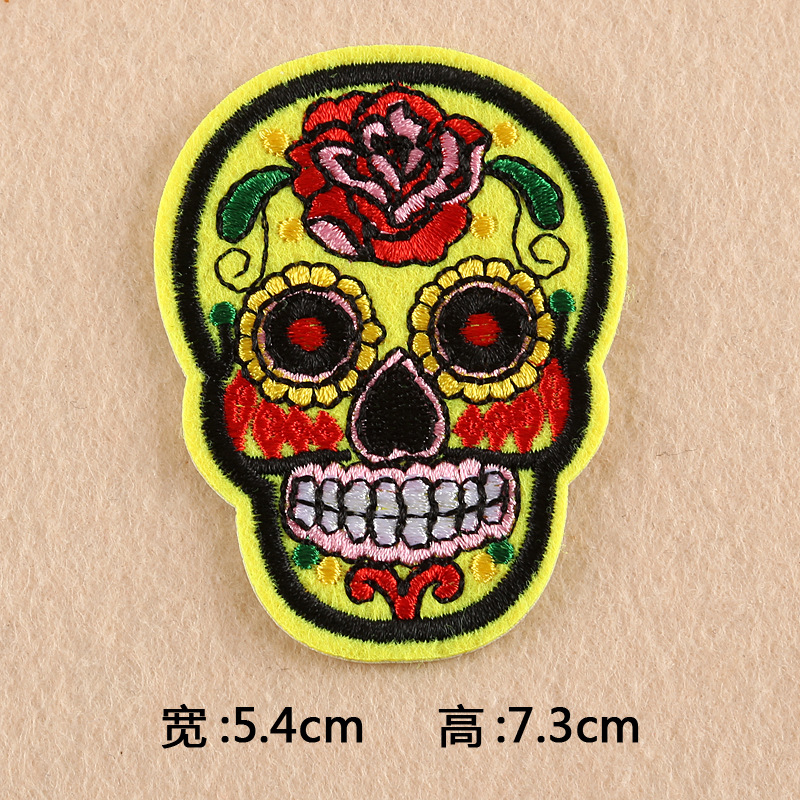 GUGUTREE one set embroidery skull patch cartoon patches badges applique patches for clothing DK-20
