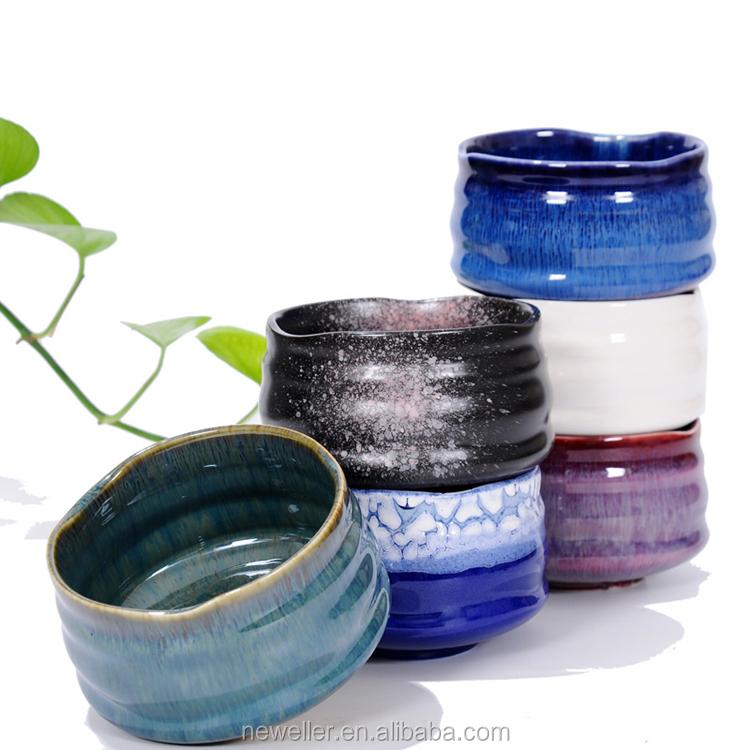 Set Mangkuk Matcha Keramik Kecil, Set Teh Warna Kustom untuk Teh Matcha