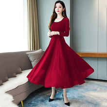 Винтажные однотонные платья макси с длинным рукавом, Осень-зима, 3XL размера плюс, шифоновое платье миди, элегантные женские облегающие вечер...(Китай)