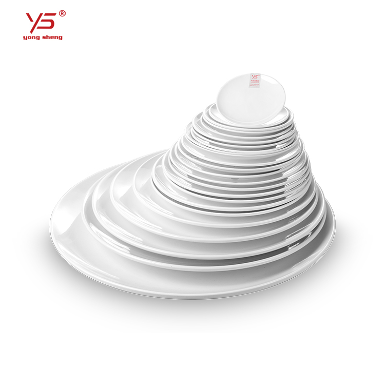 Elegante aussehen 100% melamin platten arabisch, porzellan platte restaurant, gedruckt probe platte